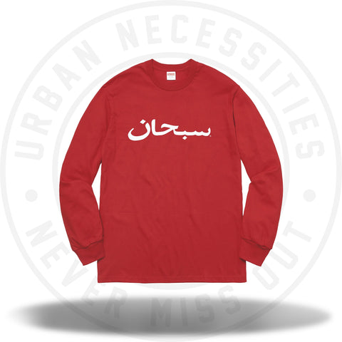 Supreme Arabic Logo L/S Tee Red-Urban Necessities