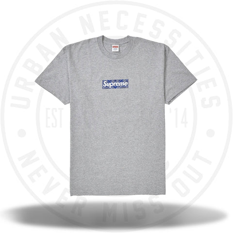Supreme Bandana Box Logo Tee Heather Grey-Urban Necessities