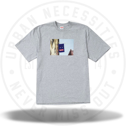 Supreme Banner Tee Heather Grey-Urban Necessities