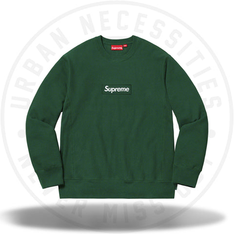 Supreme Box Logo Crewneck (FW18) Dark Green-Urban Necessities