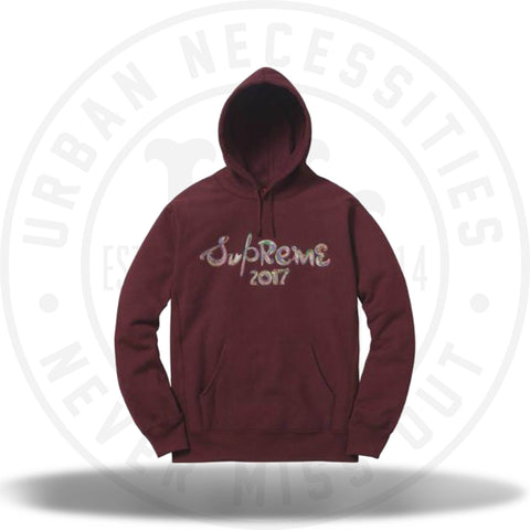 Supreme Brush Logo Hooded Sweatshirt Burgundy-Urban Necessities