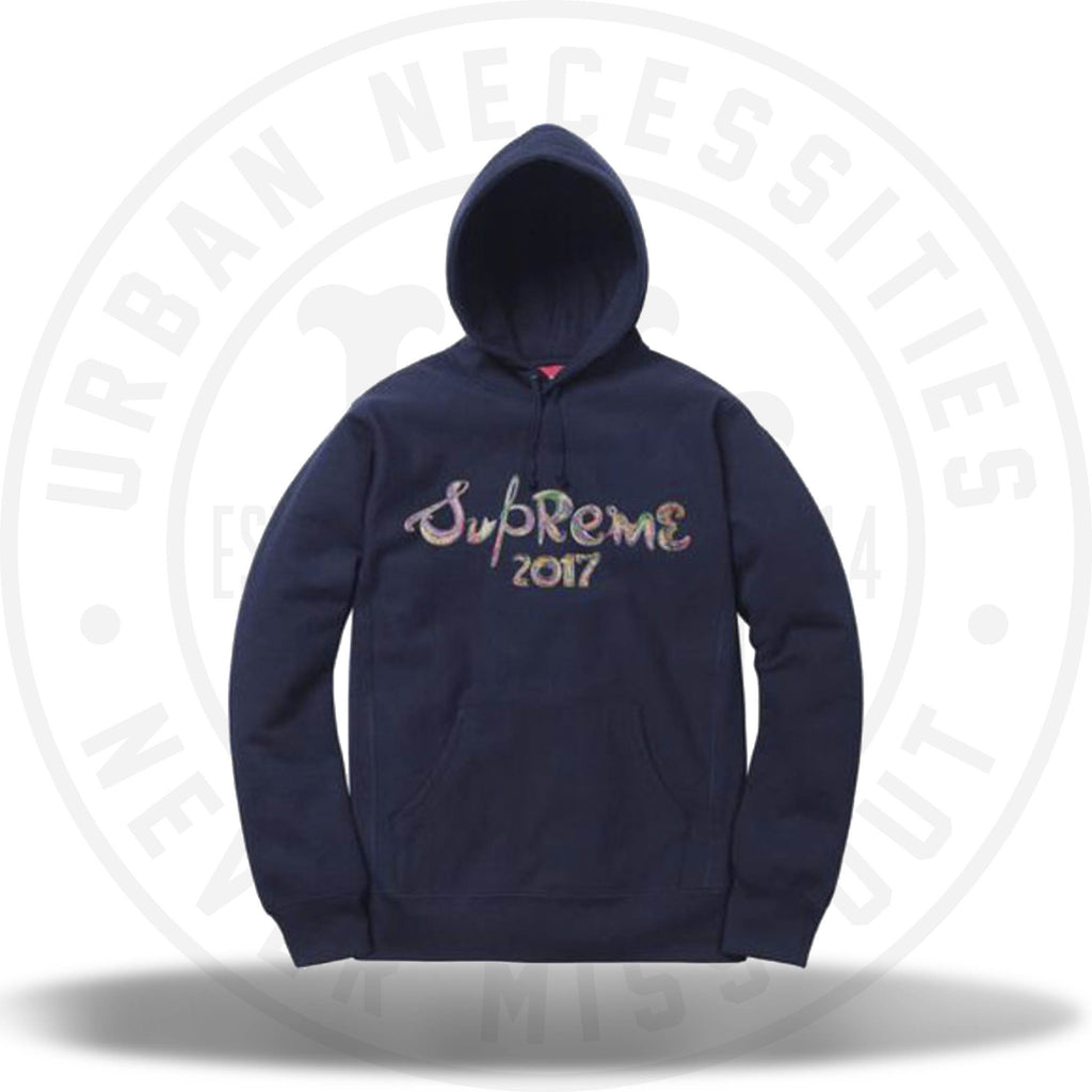 Supreme Brush Logo Hooded Sweatshirt Navy-Urban Necessities