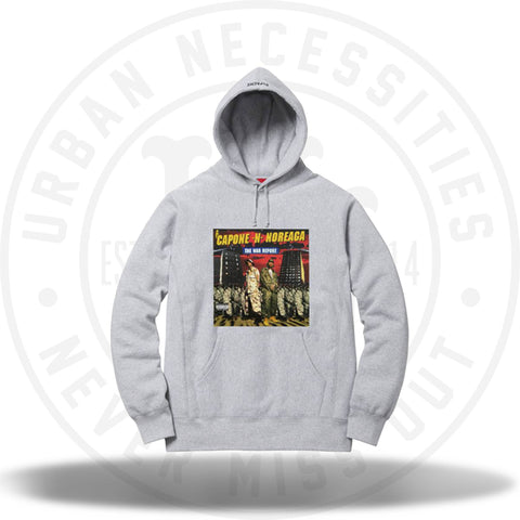 Supreme Capone N Noreaga CNN The War Report Hooded Sweatshirt Grey-Urban Necessities
