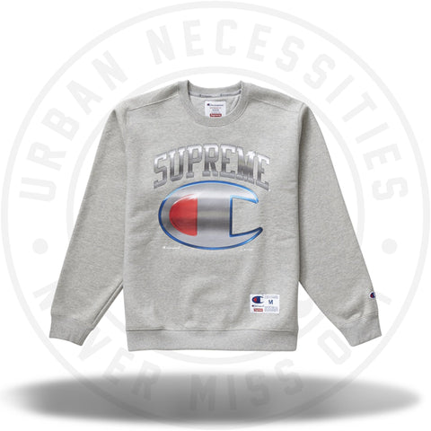 Supreme Champion Chrome Crewneck Heather Grey-Urban Necessities