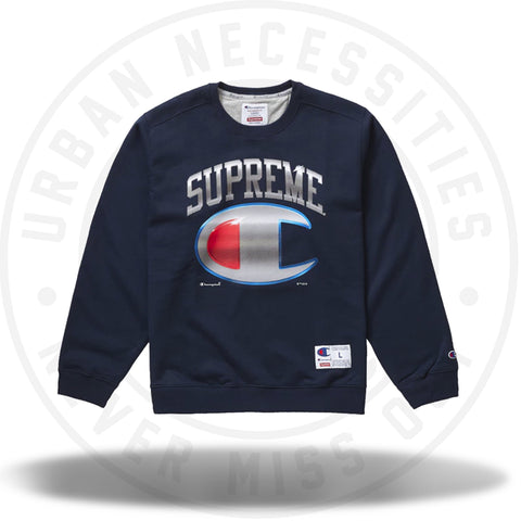 Supreme Champion Chrome Crewneck Navy-Urban Necessities