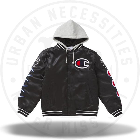 Supreme Champion Hooded Satin Varsity Jacket Black-Urban Necessities