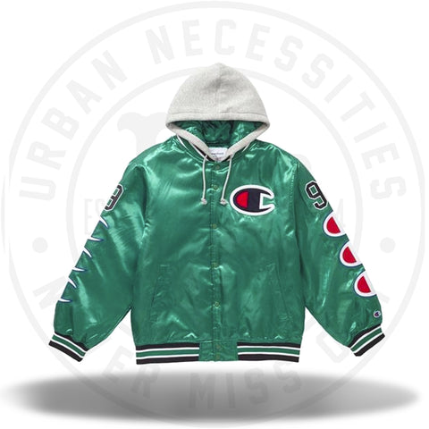 Supreme Champion Hooded Satin Varsity Jacket Kelly Green-Urban Necessities