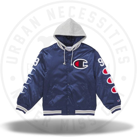 Supreme Champion Hooded Satin Varsity Jacket Navy-Urban Necessities