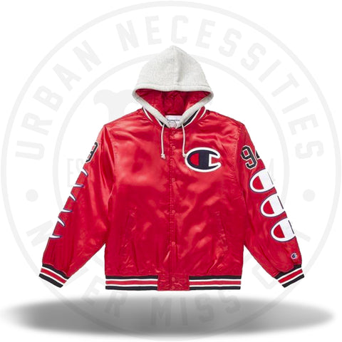 Supreme Champion Hooded Satin Varsity Jacket Red-Urban Necessities