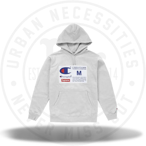 Supreme Champion Label Hooded Sweatshirt Ash Grey-Urban Necessities