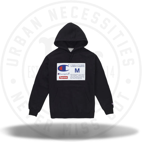 Supreme Champion Label Hooded Sweatshirt Black-Urban Necessities
