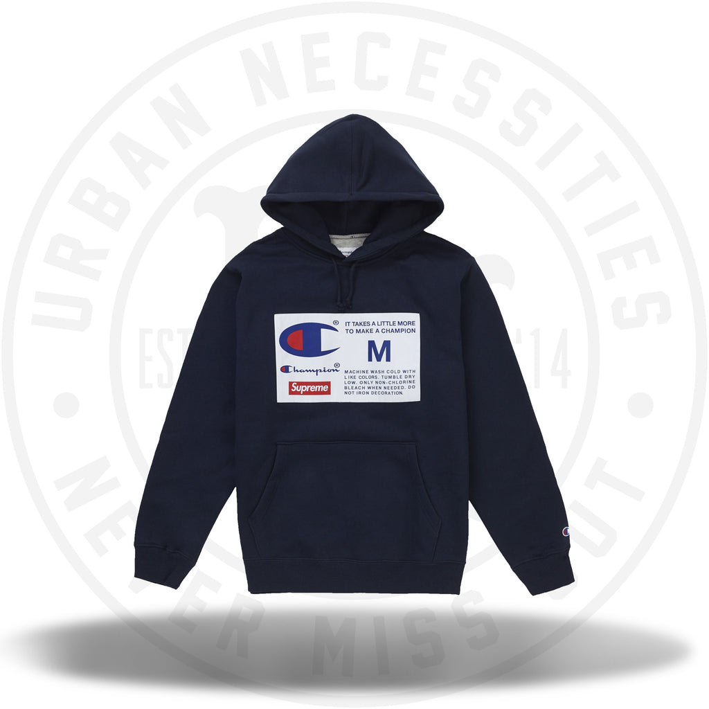 Supreme Champion Label Hooded Sweatshirt Navy-Urban Necessities