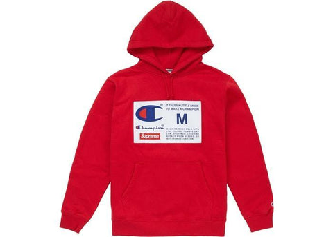 Supreme Champion Label Hooded Sweatshirt Red-Urban Necessities