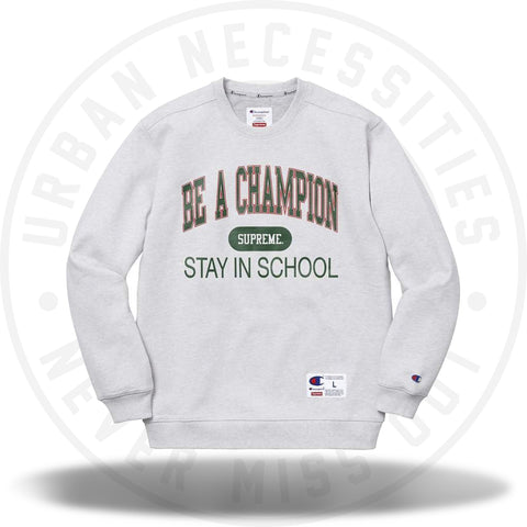Supreme Champion Stay In School Crewneck Ash Grey-Urban Necessities