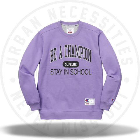 Supreme Champion Stay In School Crewneck Light Purple-Urban Necessities