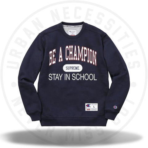Supreme Champion Stay In School Crewneck Navy-Urban Necessities