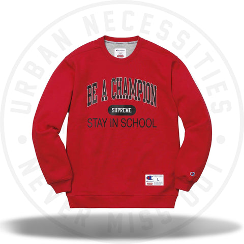 Supreme Champion Stay In School Crewneck Red-Urban Necessities
