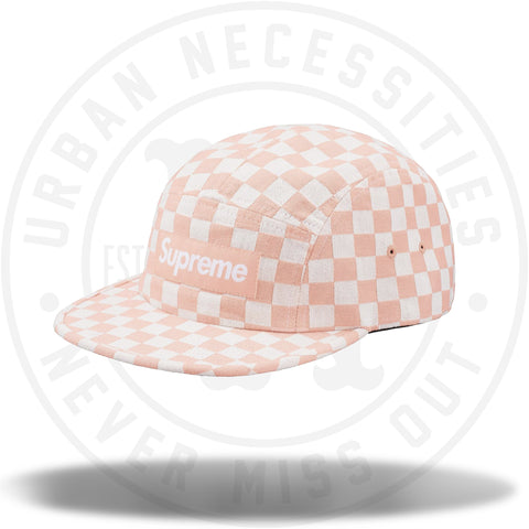 Supreme Checkerboard Camp Cap Peach-Urban Necessities
