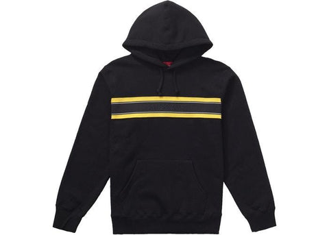 Supreme Chest Stripe Logo Hooded Sweatshirt Black-Urban Necessities