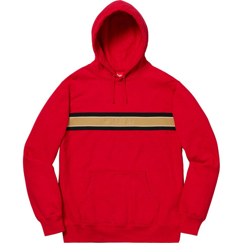 Supreme Chest Stripe Logo Hooded Sweatshirt Red-Urban Necessities
