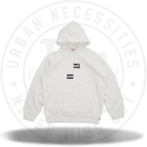 Supreme Comme des Garcons SHIRT Split Box Logo Hooded Sweatshirt White-Urban Necessities