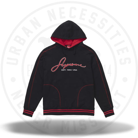 Supreme Contrast Embroidered Hooded Sweatshirt Black-Urban Necessities
