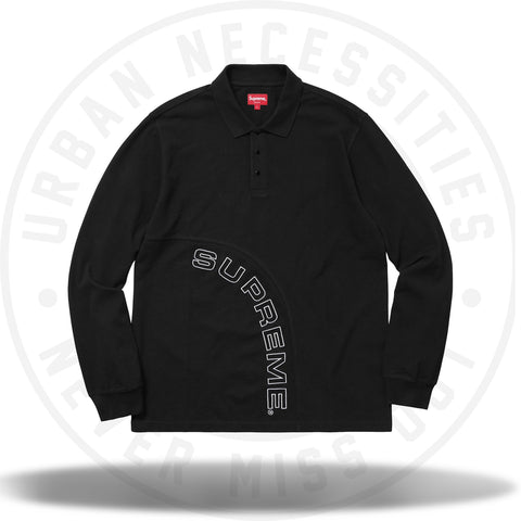 Supreme Corner Arc L/S Polo Black-Urban Necessities