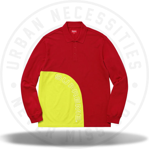 Supreme Corner Arc L/S Polo Red-Urban Necessities