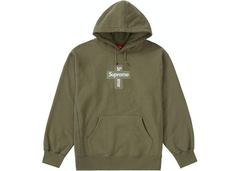 Supreme Cross Box Logo Hooded Sweatshirt Light Olive-Urban Necessities