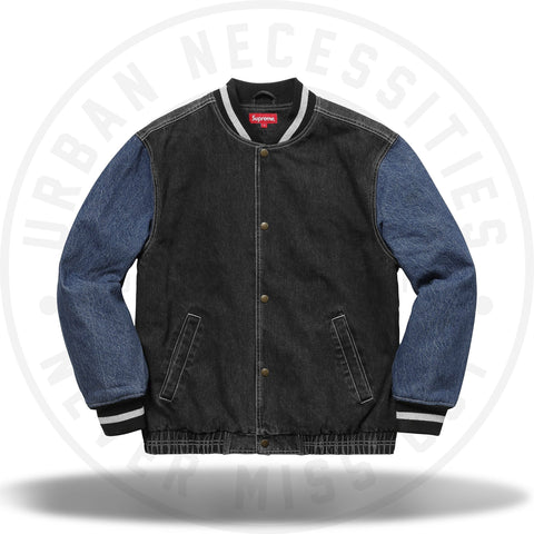Supreme Denim Varsity Jacket Black-Urban Necessities