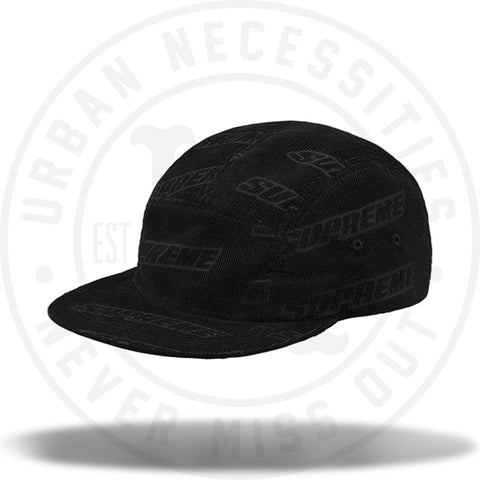 supreme embossed logo corduroy camp cap - black-Urban Necessities 45f4a3da2