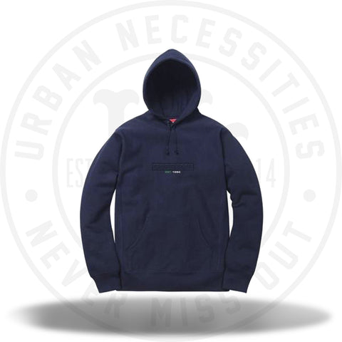 Supreme Embossed Logo Hooded Sweatshirt (SS18) Navy-Urban Necessities