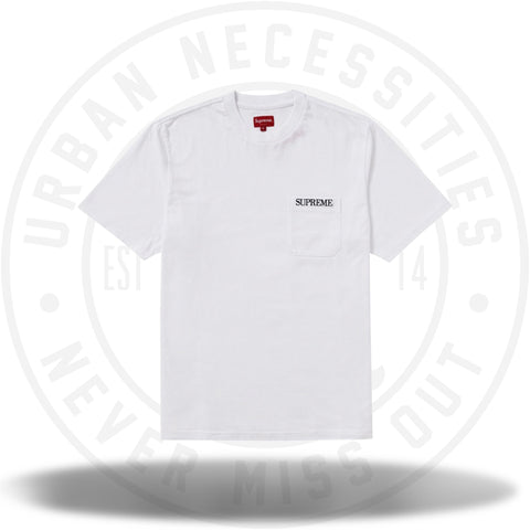 Supreme Embroidered Pocket Tee White-Urban Necessities