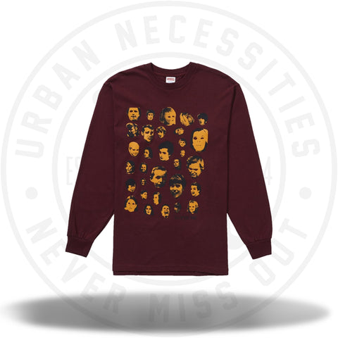 Supreme Faces L/S Tee Burgundy-Urban Necessities