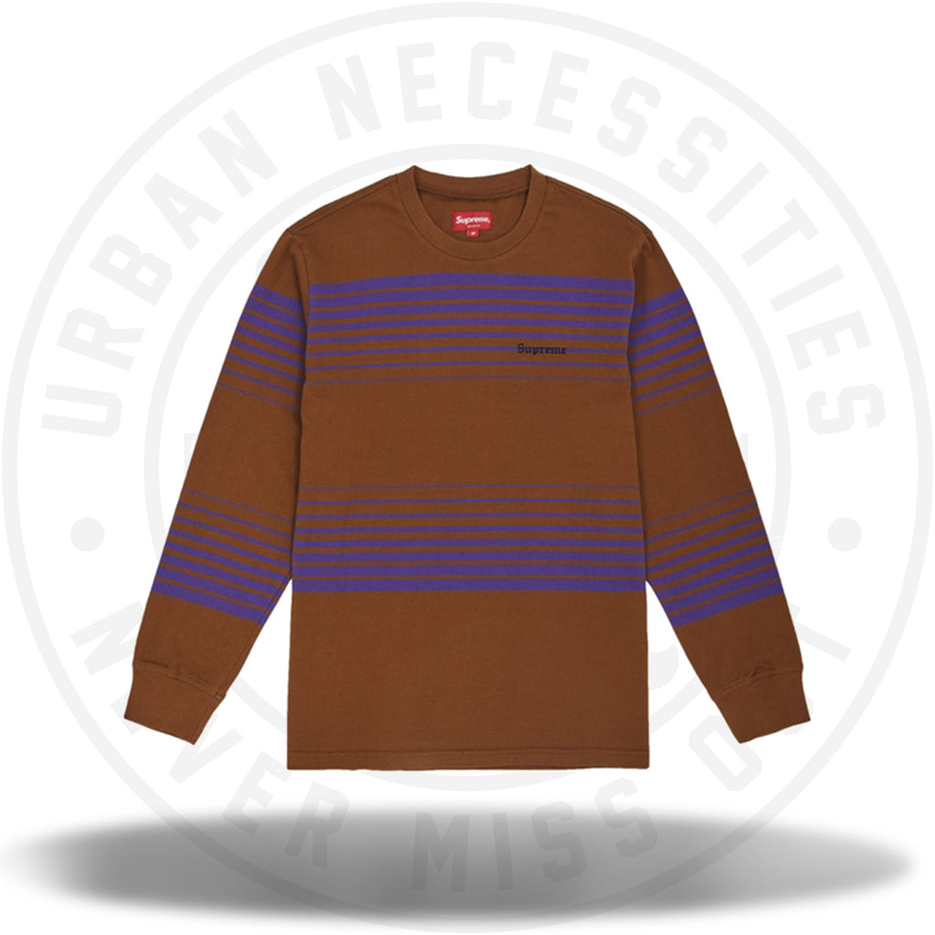 Supreme Fade Stripe L/S Top Brown-Urban Necessities