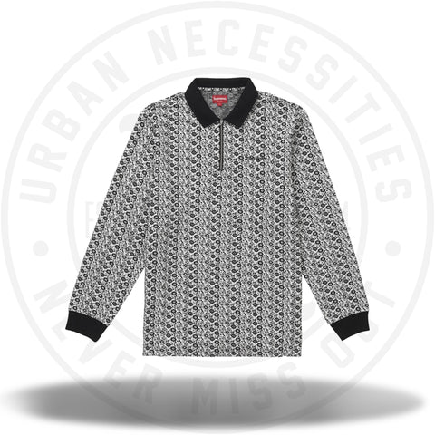 Supreme Floral Jacquard Zip L/S Polo Black-Urban Necessities