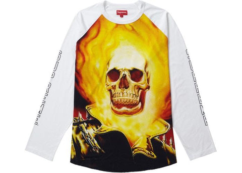 Supreme Ghost Rider Raglan L/S Top White-Urban Necessities
