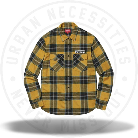 Supreme God Bless Plaid Flannel Shirt Gold-Urban Necessities