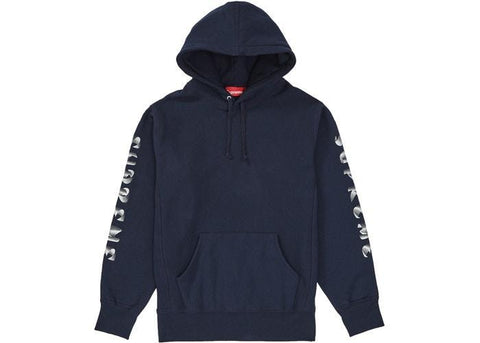 Supreme Gradient Sleeve Hooded Sweatshirt Navy-Urban Necessities