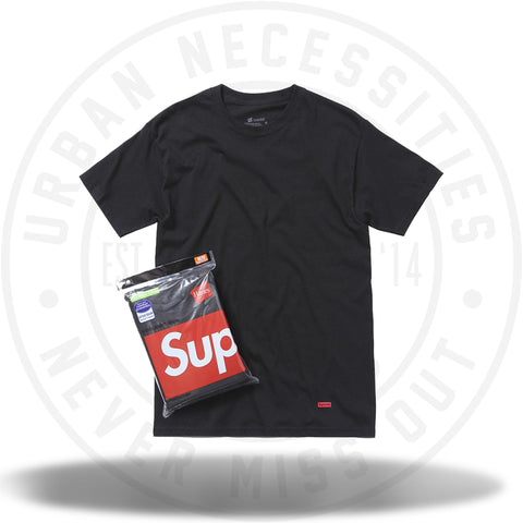 Supreme Hanes Tagless Tees (3 Pack) Black-Urban Necessities