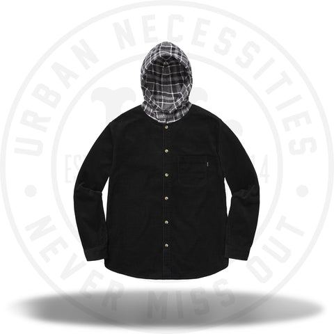 Supreme Hooded Color Blocked Corduroy Shirt Black/Gray-Urban Necessities