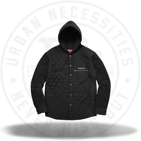 Supreme Hooded Fleece Nylon Shirt Black-Urban Necessities