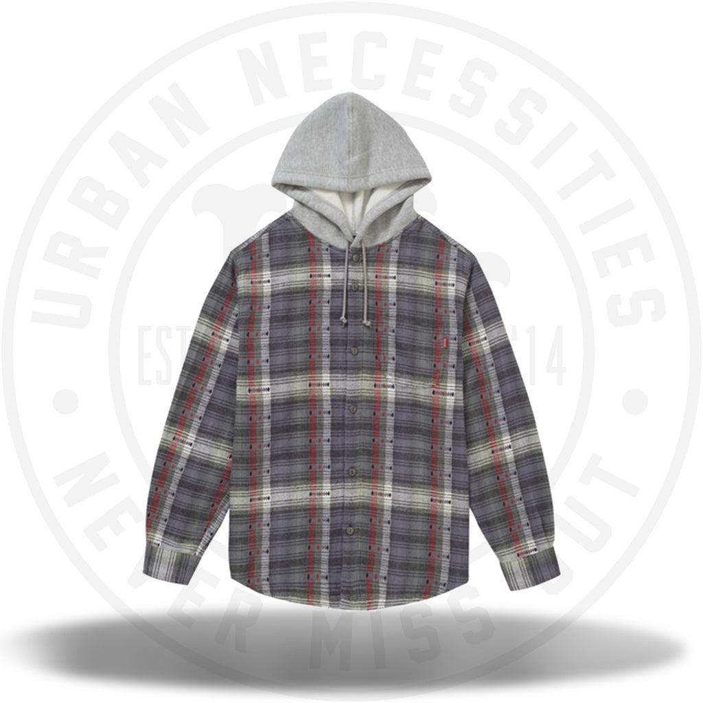 Supreme Hooded Jacquard Flannel Shirt Navy-Urban Necessities