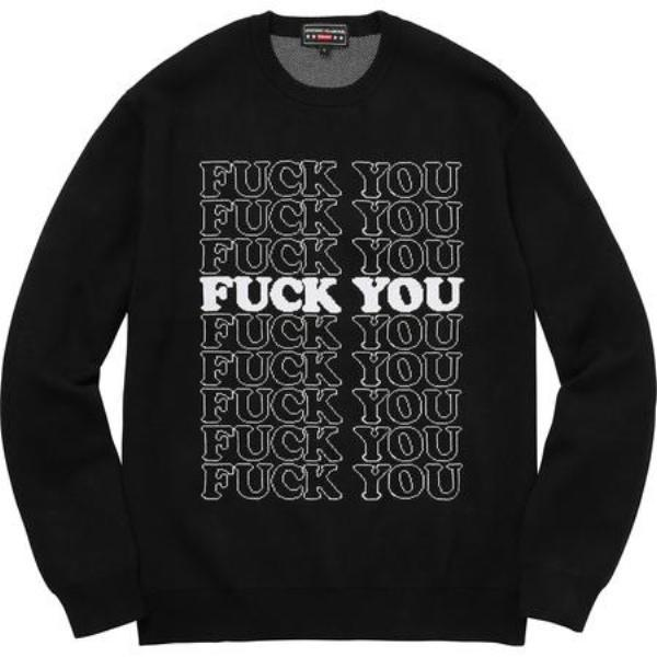 Supreme Hysteric Glamour Fuck You Sweater Black-Urban Necessities