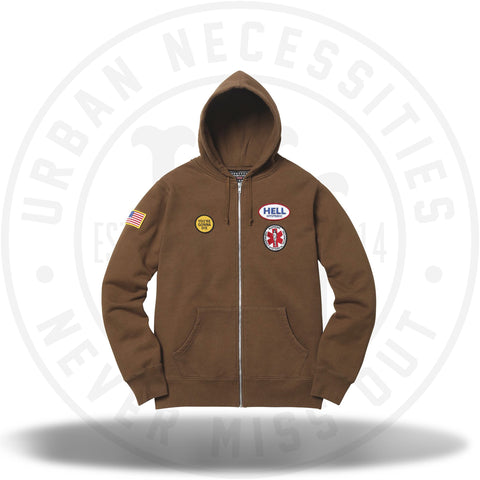 Supreme Hysteric Glamour Patches Zip Up Sweatshirt Brown-Urban Necessities
