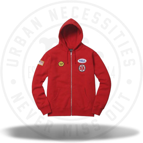 Supreme Hysteric Glamour Patches Zip Up Sweatshirt Red-Urban Necessities