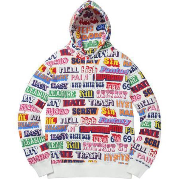 Supreme Hysteric Glamour Text Hooded Sweatshirt White-Urban Necessities