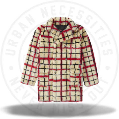 Supreme Jean Paul Gaultier Double Breasted Plaid Faux Fur Coat Off White-Urban Necessities