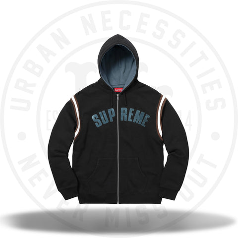 Supreme Jet Sleeve Zip Up Hooded Sweatshirt Black-Urban Necessities