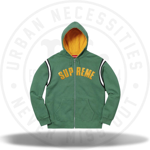 Supreme Jet Sleeve Zip Up Hooded Sweatshirt Light Pine-Urban Necessities